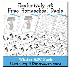 This free printable worksheet set is created by Cassie of 3 Dinosaurs! Winter is coming soon. I love having different ABC themes to work with. This month I