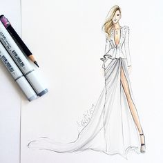 Throwing it back to one of my favs- @pnemcova in @zuhairmuradofficial Psssst add me on Snapchat! - (hnillustration) #fashionsketch #fashionillustration #bostonblogger #illustration #illustrator #copic #copicart #petranemcova #zuhairmurad #zuhairmuradcouture #couture