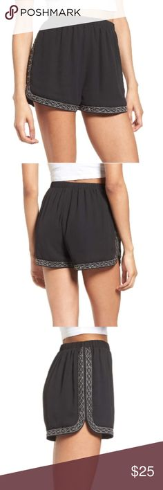 🆕️ Soprano Studded & Embroidered Shorts For the sporty girl who still likes a bit of glitz, these comfy dolphin-hem shorts are glammed up with contrasting embroidery and shimmery, faceted studs.   The problem is that they run very small, the elastic waist band has very little stretch to it. They are adorable for anyone that has an extremely flat stomach and is a size 0-4. Nordstrom Shorts