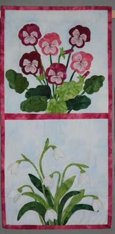 3D quilt   Violets & Snowdrops.  made by Sylvia Dros the Netherlands (from Sylvia my quilt &sewing projects)