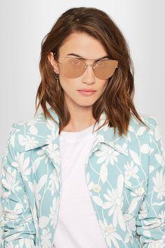 Miu Miu - Cat-eye Silver-tone Mirrored Sunglasses - Pink - One size