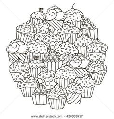 Circle shape pattern with cute cupcakes for coloring book. Vector illustration - stock vector
