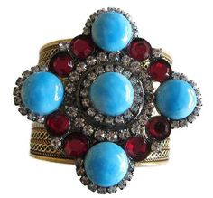 Vintage Turquoise & Ruby Maltese Cross Cuff Bracelet