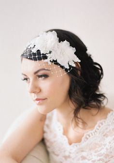I love this lace headband with just a hint of a veil!