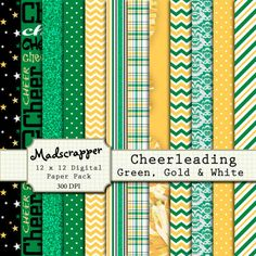 Digital Scrapbook Paper Cheerleading Green Gold and by madscrapper