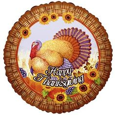 "Custom, Fun & Cool {Big Large 18"" Inch} 1 Unit of Helium & Air Mylar Foil Balloons w/ Happy Thanksgiving Holiday Traditional Wild Turkey Sunflowers Design [Festive Orange, Blue, Brown & Yellow] mySimple Products"