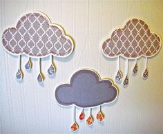 Rain Cloud Paper Wall Art Nursery Decor Gray and Orange Boy Girl Nursery Rain Decor Raining