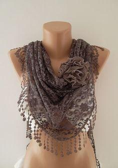 Elegance Scarf - Moca Brown Scarf - Lace Scarf - Shawl - Headband - Women's Fashion Tringle Scarf: