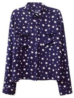 Oasap 2014 Star Button-up Shirt T Shirt Navy $27