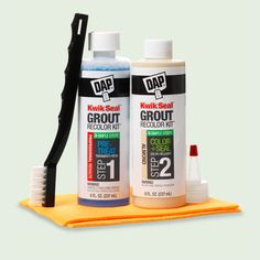 From the TOH Top 100 Best New Home Products 2013 Kwick Seal Grout recolor kit by DAP. In 1 pkg, 3-step grout repair: (1) Strip away stained top layer, opening pores to create firm grip. (2) Recolor and seal in shiny white... (3) Buff with a chamois. About $30, dap.com