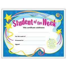 """Certificate Student Of The Week. Unique awards feature inspiring quotations and contemporary artwork. Keepsakes that are casual enough for everyday giving. 30 certificates. 8½"""" x 11""""."""