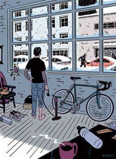 Winter Bike Illustration