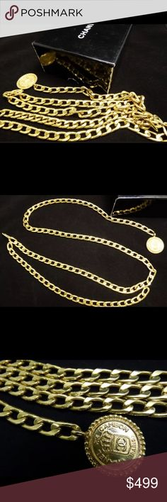 "AUTHENTIC CHANEL GOLD DOUBLE BELT 37"" STAPLE ITEM! This dresses up any outfit and looks stunning with the Chanel's with gold chains. This is 37"" - will fit up to a 34"" waist, or wear it lower. Make those ordinary outfits pop! Staple item for any CHANEL lover. CHANEL Accessories Belts"