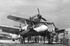 """One of the aircraft systems """"Mistel"""" at the hands of the Allies in Bernburg"""