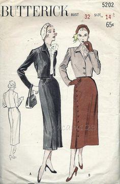 Vintage des années 1950 Bolero costume patron jupe asymétrique fermeture…