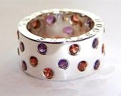 Handmade 925 Sterling Silver Ring Garnet and Amethyst Stone Band Chunky Silver Wedding Rings