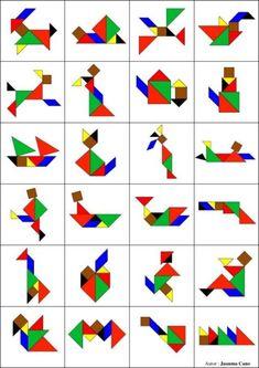 Como fazer seu TANGRAM? - MaterniARTE Preschool Learning Activities, Preschool Crafts, Toddler Activities, Crafts For Kids, All About Me Preschool, Math For Kids, Tangram Puzzles, Busy Boxes, Pattern Blocks