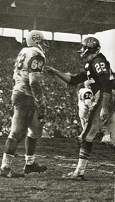 1963 Grey Cup - Mosca & Kapp after Mosca's hit on Fleming