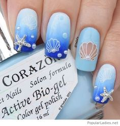 Awesome summer blue gel nails with print