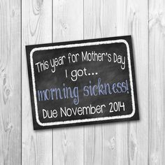 ON SALE Chalkboard sign, pregnancy announcement, mothers day, photo prop, morning sickness