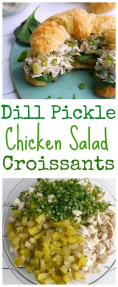 Since I am truly a dedicated pickle lover these Dill Pickle Chicken Salad Croissants have become a fast favorite. It's perfect for lunch or a light dinner and keeps for several days in the fridge. I promise you are going to love the flavor from NoblePig Croissant Sandwich, Chicken Salad Croissant, Chicken Salad Recipes, Chicken Salads, Chicken Sandwich, Croissant Dinner Recipe, Chicken Salad Wraps, Chicken Salad Recipe Easy Healthy, Greek Chicken Salad