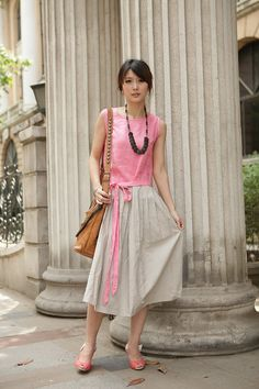 Pink concise style long sundressmore colour and by FashionColours, $72.00