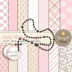 Rosary Girl Baptism Digital Papers and Clipart, First Communion, Confirmation, Christening, Dedication, Holy Week Scrapbooking, Rosary