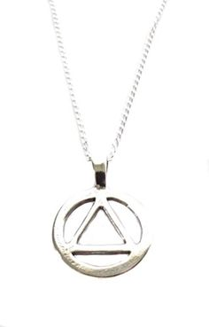 Sterling Silver AA Alcoholics Anonymous Symbol Charm Necklace 18 Recovery Jewelry Gift ** Read more by visiting the link on the image.