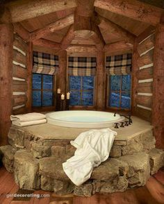 Beautiful stacked stone tub surround