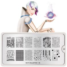 Say hello to Lilu! She's from a different planet... ● MoYou-London Sci-Fi 05 includes 12 different designs, each measuring 1.5 x 2cm. ● The stainless steel plate measures 6.5 x 12.5cm and have a vinyl backing for increased ease of use. ● Each plate comes in its own branded protective sleeve. ● The designs are engraved on to the image plate and covered with a protective film which needs to be removed before use. This item is the image plate only. How to What you'...