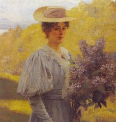 Hans Gude (Norwegian 1825–1903) [Norwegian romantic nationalism] Ung Dame Med Syriner | Young Woman with Lilac, 1897.