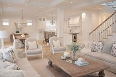 @JSHOMEDESIGN- neutral living room, hamptons style, restoration hardware, traditional home, open concept, white kitchen, neutral decor, ballard designs dayna chairs, trestle table , ro sham beaux chandelier