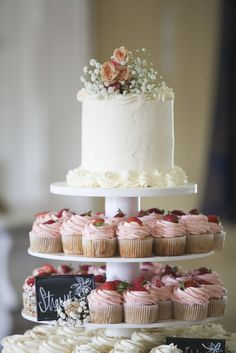 White Wedding Cake With Strawberry Cupcakes