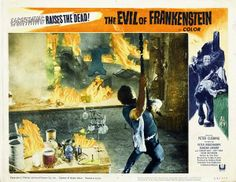 "Lobby Card for the Hammer horror film ""The Evil of Frankenstein"" (1964), directed by Freddie Francis and starring Peter Cushing as the titular mad scientist. A film distribution deal allowed for a monster and sets that more closely resemble the Universal version starring Boris Karloff."