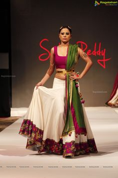 Pink, white & green ghagra