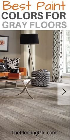 Do you know the best paint colors for gray floors? Whether it's gray hardwood, carpet, tile or laminate, check out these failsafe paint shades that work best. Grey Flooring, Grey Painted Floor, Living Room Wall Color, Flooring, Grey Accent Wall, Room Wall Colors, Floor Paint Colors, Grey Floor Tiles, Grey Flooring Living Room