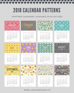 2018 Calendar: Patterns