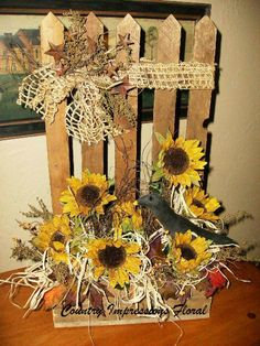 sunflowerarrangements | Country/Prim sunflower arrangement, with handmade crow. Arranged in ...