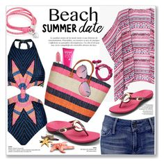 """""""beach summer date"""" by nanawidia ❤ liked on Polyvore featuring Mara Hoffman, Vionic, Black Orchid, Oxford Ivy, MAC Cosmetics, Model Co, Ray-Ban, beach and summerdate"""