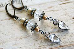 Avery. romantic,rhinestone drop,estate style earrings.Tiedupmemories