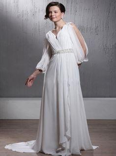 A-line V-neck Chapel train Chiffon Wedding dress on sale at miamastore.com