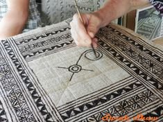 Creating the center panels in a Hmong batik design via WanderShopper