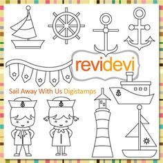 Line Art Sail away, nautical kids clip art (digital stamps, coloring) S063. Blackline design Nautical themed digistamp with little sailors, anchor, boat, and more fun outline graphics. These digital stamp cliparts are very useful for teachers and educators for creating their school and classroom projects such as for coloring page, games, and other learning sheets.