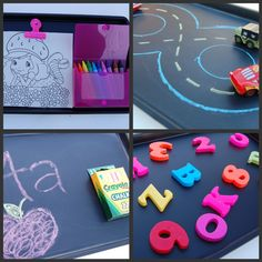 "DIY Road Trip Travel Trays: small cookie sheets from dollar store + chalkboard paint...for coloring, buy magnetic clip to hold papers and glue magnets to back of crayon/chalk box, chalk racecar track, magnetic letters, etc. {I need to make these and use them as ""everyday"" car ride trays!}"