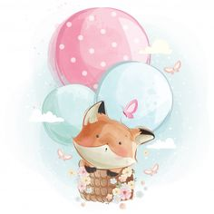 Cute fox flying with balloons Premium Vector Illustration Mignonne, Cute Illustration, Watercolor Illustration, Watercolor Drawing, Watercolor Animals, Cute Fox, Cute Bunny, Art Mignon, Baby Art