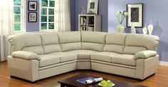 Oliver Ivory Leatherette Sectional Sofa Cm6325IV