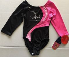 DANSKIN Performance Metallic Leotard Long Sleeve Speed Dri Dance Girls XS 4/5 #Danskin