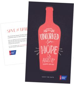 American Cancer Society's 'Uncorked for Hope' Save the Date / Identity / Lettering
