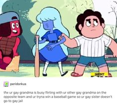 why grandma tho<<because garnet is mom and Ruby and sapphire are like Garnet's moms in a way? Idk