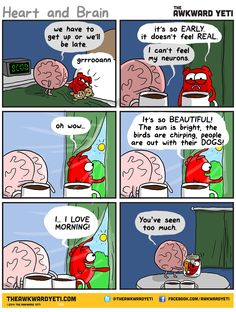 morning with the heart and the brain. Comic by The Awkward Yeti @theawkwardyeti